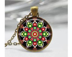 Christmas Mandala Pendant, Abstract Art Pendant, Mandala Necklace, Abstract Jewelry, Dot Painting Pendant, Mandala Jewelry, Glass Dome, m13