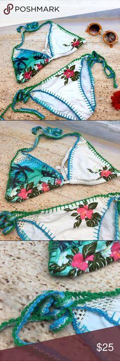 No Boundaries Lovely Crochet  Halter Bikini Super Cutesy Bikini set. Crochet detail on top and nice embroidery detail. No Boundaries Swim Bikinis