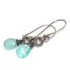 Cerulean Blue Chalcedony Earrings Oxidized Earrings by FizzCandy