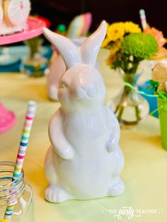 Pastel Easter Children's Table by The Party Teacher - white ceramic bunnies