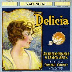 Anaheim Delicia Orange Citrus Crate Label Art Print