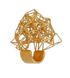 """Ring """"Voronoi* - III"""" by lotocoho - (18k Gold-plated brass   5,2 x 3,5 x 4,6 cm  19,3 grams   Prototyped in polyamide.  Lost wax casting process in brass.   Electroplated in 18k Gold.) - 350€ -  //  wow."""