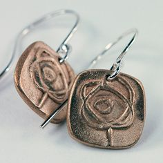 Bronze Clay Rosebud Earrings by MyBrownWren on Etsy, $34.00 - A great gift for your valentine!