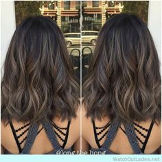 Love this Medium lob with waves and caramel ash brunette haircolor