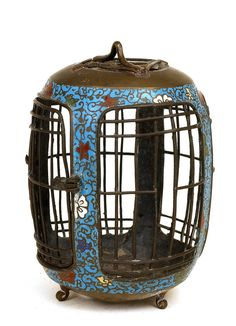 Old Japanese Champleve Cloisonne Bird Cage. This is seriously sweet.