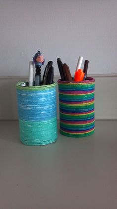Yarn + Soup can = Easy, cute and cheap craft!