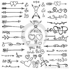 Valentine Stock Vector - Illustration of love, dividers: 50408891 Doodle Tattoo, Doodle Drawings, Easy Drawings, Mind Map Examples, Arrow Doodle, Ornamental Vector, Cute Arrow, Harry Potter Symbols, Hand Drawn Arrows