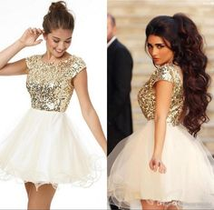 2016 Fashion Elegant Homecoming Dresses Under 100 A Line White And Gold  Sequins Short Party Dress 5ee995e731fd