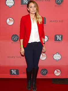 Red blazer and navy blue jeans!