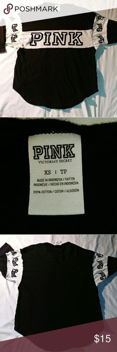 Pink Victoria's Secret Blk/Wht Top Sz XP Item up for sale is a gently used, black and white, top by Pink Victoria's Secret. Items in great condition, no holes or stains, made of 100% cotton from Indonesia. Please ask any questions and thanks for looking. PINK Victoria's Secret Tops Tees - Long Sleeve