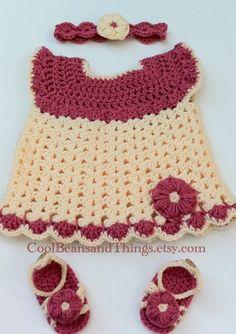 Summer Newborn Baby Dress, Headband and Sandals set.