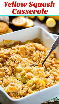 Yellow Squash Casserole with a buttery cracker crumb topping. So cheesy and good. Yellow Squash Casserole with a buttery cracker crumb topping. So cheesy and good. Southern Squash Casserole, Yellow Squash Casserole, Easy Squash Casserole, Squash Caserole, Gourmet Recipes, Vegetarian Recipes, Cooking Recipes, Healthy Recipes, Healthy Cooking