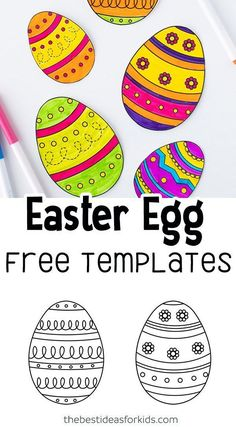 Easter Egg Free Templates - perfect for coloring or crafts. Easter Projects, Easter Crafts For Kids, Toddler Crafts, Easter Ideas, Art Projects, Easter Activities For Toddlers, Camping Activities, Learning Activities, Teaching Ideas