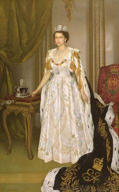 Queen Elizabeth II in Coronation Robes, Sir Herbert James Gunn, 1954. The Royal Collection