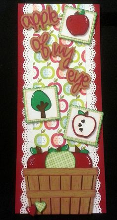 """Pre Made Vertical Border """"Apple of my Eye"""" for Scrapbook"""
