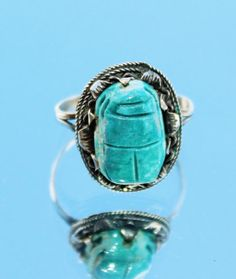 FREE SHIPPING Sterling Silver & Blue Egyptian Scarab Beetle Ring (us Size…