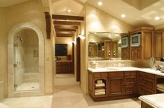 Travertine and cabinet color for our master bathroom. Spa!    houzz.com