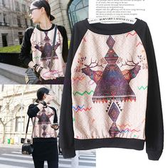 Cheap printing school, Buy Quality hoodie coat directly from China print balloon Suppliers:                                                        Women Spring Autumn Fashion Personality Animal Deer Print