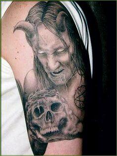 Evil Skull Tattoo On Left Half Sleeve : Evil Tattoos Evil Skull Tattoo, Evil Tattoos, Demon Tattoo, Witch Tattoo, Tattoos Skull, Tattoo On, Sleeve Tattoos, Horror Tattoos, Scary Tattoos