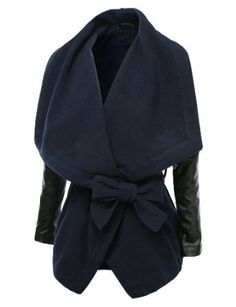 Amazon.com: J.TOMSON Womens Wide Lapel Waist Tie Coat With PU Sleeves: Clothing