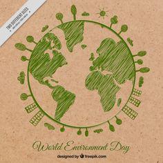Fondo del planeta tierra esbozado en verde Vector Gratis