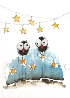 Hanging stars by stressiecat on Etsy