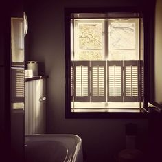 In love with our design for bathroom window shutters. Custom made to match this dreamy Swedish mansion. Bathroom Windows, Window Shutters, Custom Made, Blinds, Cabin, Curtains, Mansions, Interior Design, Home Decor