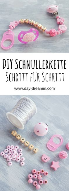 Du willst selber für dein Baby eine Schnullerkett machen? Mit dieser Schritt für Schritt Anleitung gelingt es dir garantiert. #diy