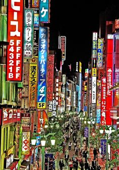 Tokyo's Neon Lights. Japan. I wish to go here again- I miss it!