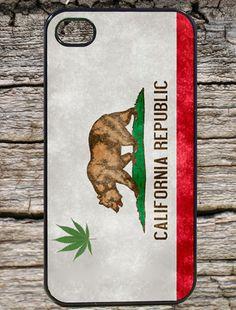 California Flag Bear Weed Iphone 4 / 4s Black Case