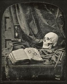 Thomas Richard Williams - Still Life with Skull, Open Book with Glasses, and Hourglass - Fine Art Print