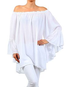 Another great find on #zulily! White Solid Off-Shoulder Top - Women by Karen T. Design #zulilyfinds