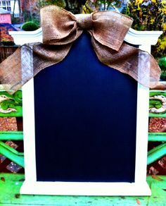 Made this chalkboard tonight and added a handmade burlap bow.. So easy and cute. Great Christmas gifts!!
