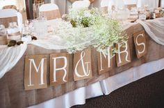 Rustic wedding party table decoration