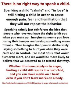 There is no right way to spank a child...