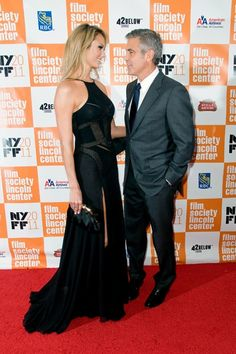 George Clooney and Stacy Keibler snuggle on the red carpet at NY Film Festival celebrities