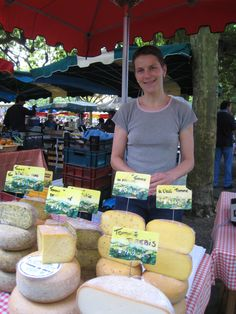 cheese stall, farmer's market at Eauze, France