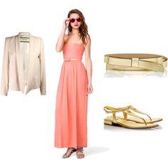 Cream Blazer, Peach Dress, Gold Accessories by gallowaya on Polyvore