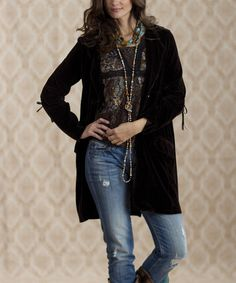 Take a look at this Black Vintage Fenway Velvet Jacket - Women & Plus by Rancho Estancia on #zulily today!