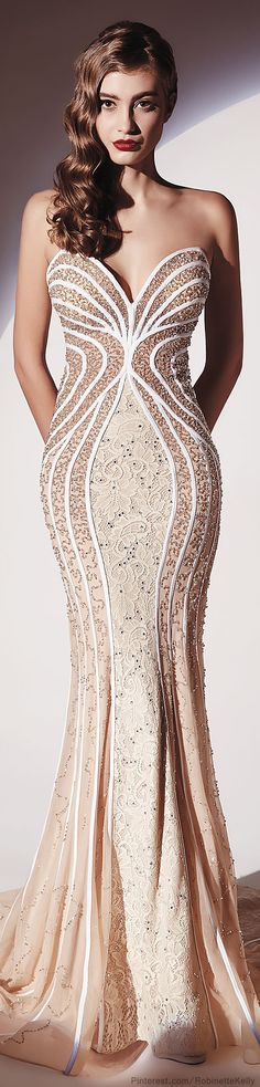 Dany Tabet Couture S/S 2014-I love the color of the dress, it's so simple yet with the detail perfectly elegant.