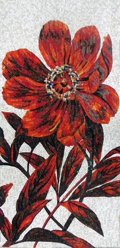 Red Flower Glass Mosaic