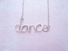 Silver Wire Handmade Letter Word Necklace Dance by DesignByThyll, $48.00