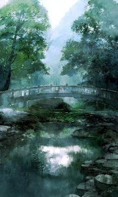 Back to the nature is what many people looking for, they regard this as the symbol of happiness. Fantasy Landscape, Landscape Art, Landscape Paintings, Fantasy Art, Watercolor Landscape, Watercolor Art, Art Asiatique, Fantasy Places, Anime Scenery