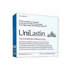 Unilastin is an anti-wrinkle pill. This is a European product manufactured by Erikson Bioscience, and is available in the US. This revolutionary product restructures the skin to repair any signs of aging from top to bottom, not only on the face.