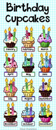 Birthday Display - Birthday Cupcakes with Balloons Birthday Bulletin Boards, Classroom Birthday, Owl Classroom, Birthday Wall, Happy Birthday Signs, Birthday Board, Birthday Cupcakes, School Birthday, Kindergarten Crafts