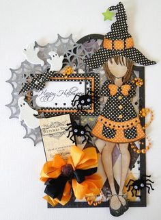 Halloween themed Julie Nutting Prima doll stamp card from www.scrapbook.com Halloween Scrapbook, Halloween Tags, Fall Halloween, Halloween Crafts, Prima Paper Dolls, Prima Doll Stamps, Tag Design, Artist Trading Cards, Fall Cards