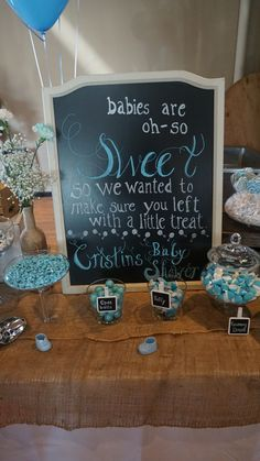 Chalkboard sign for candy bar for baby boy shower