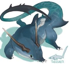 *eats your cats food and makes them watch* — Shark dragons. Please consider this idea, I. Mythical Creatures Art, Mythological Creatures, Cute Creatures, Magical Creatures, Monster Concept Art, Fantasy Monster, Monster Art, Monster Hunter, Creature Concept Art