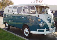 VW Buses: 1966 Blue & White VW Bus