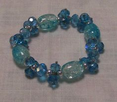 Blue crystal and crackle glass focals - A$10.00